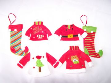 Traditional Christmas Tree Decorations Jumper Jacket Stocking Red Green White